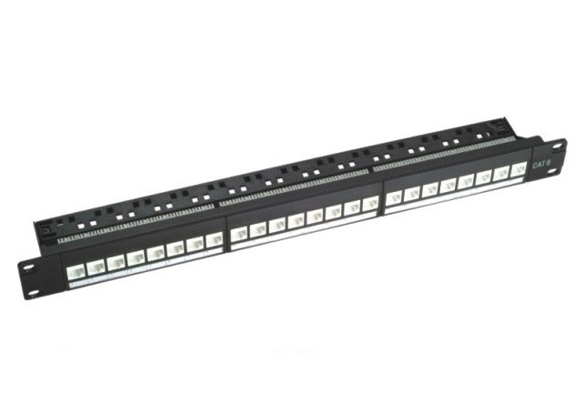 "110 IDC RJ45 19"" 1U 24 Port Rack Mount Patch Panel UTP Cat6 Black Color"