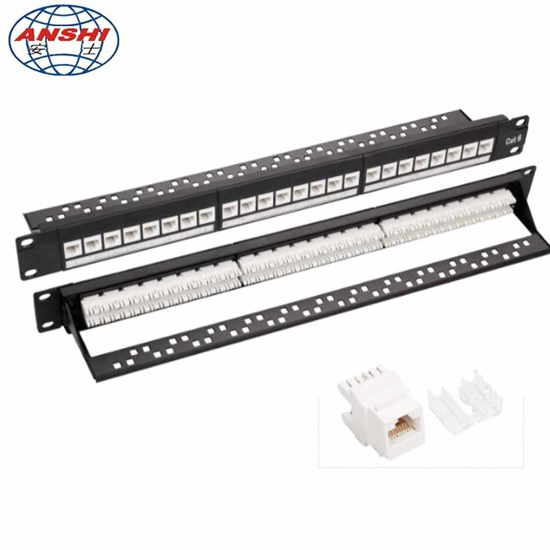 CAN OEM 1U 19'' Inch 24 Port CAT6 UTP Rack Mount Patch Panel with RJ45 Keystone Jack