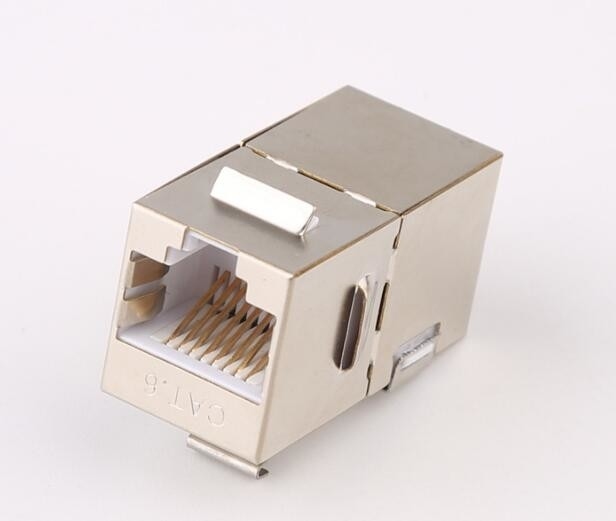STP CAT6 RJ45 Keystone Jack In - Line Coupler Metal Material With Gold Plating